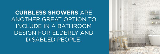 curbless showers are great bathroom designs for seniors