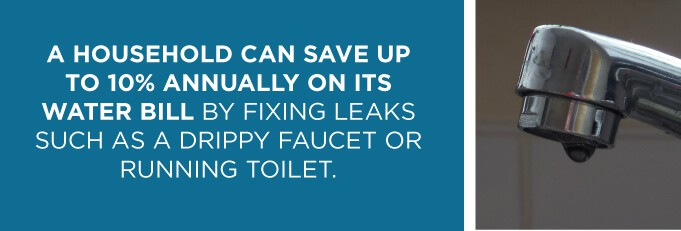 a graphic explaining that a household can save up to 10% on its water bill if leaks are fixed