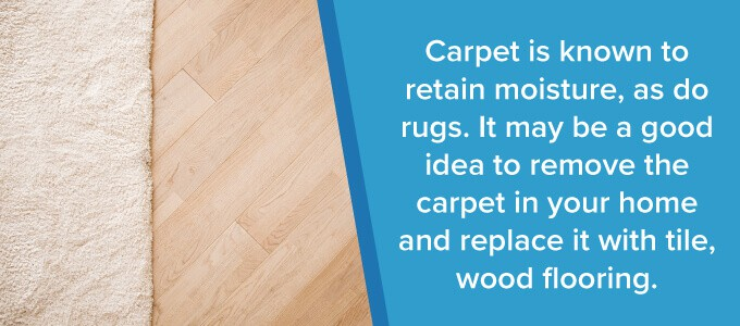 carpets and rugs retain moisture