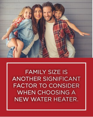 family is a significant factor when determining what size hot water heater to buy