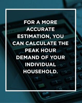 graphic giving advice on calculating the peak hour of hot water demand