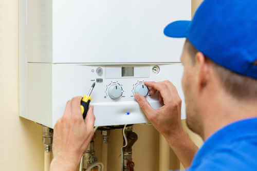 water heater being repaired