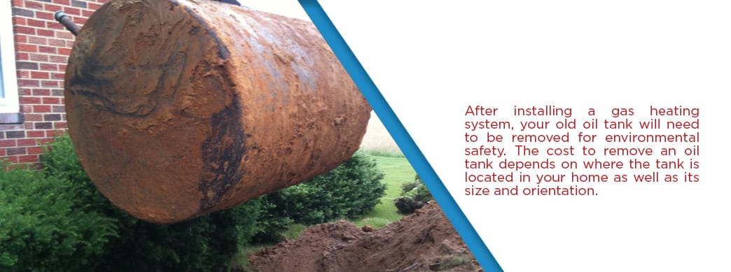 an old oil tank being removed