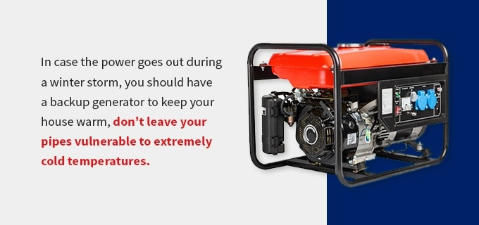advice to utilize a backup power generator during an outage