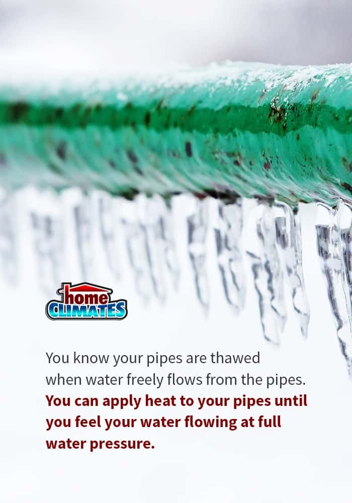 frozen pipes being thawed