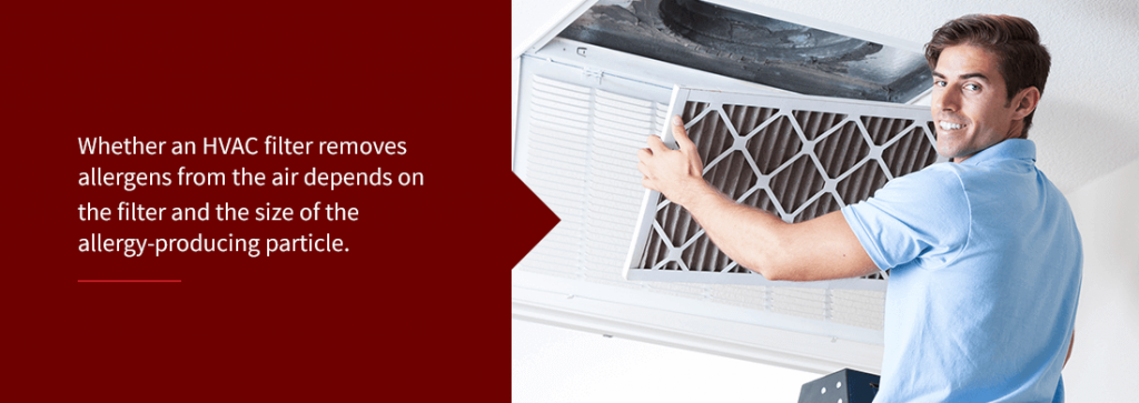 an HVAC filter removing allergens from the air