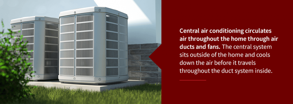 central air HVAC systems outside a house
